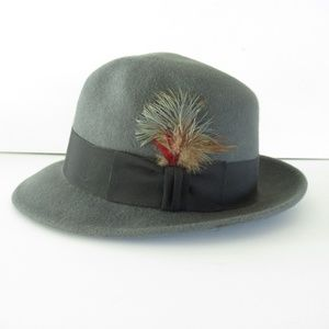 Vintage Mallory By Stetson Fedora Hat Wool Feather